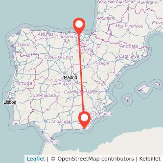 Mapa del viaje Almería Bilbao en bus