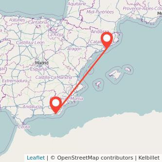 Mapa del viaje Almería Barcelona en bus
