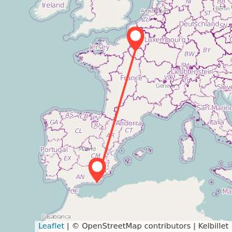 Mapa del viaje Almería París en bus