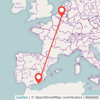 Mapa del viaje Almería Bruselas en bus