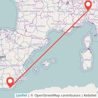 Mapa del viaje Almería Milan en bus