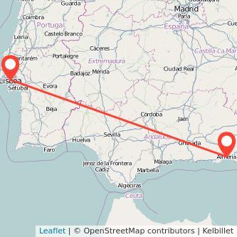 Mapa del viaje Almería Lisboa en bus