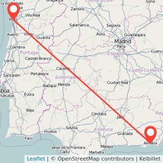 Mapa del viaje Almería Oporto en bus