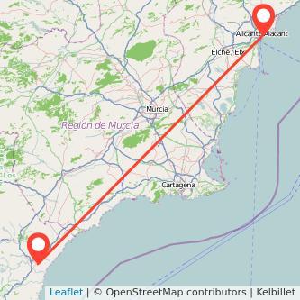 Mapa del viaje Alicante Vera en bus