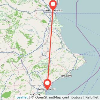 Mapa del viaje Alicante Valencia en bus