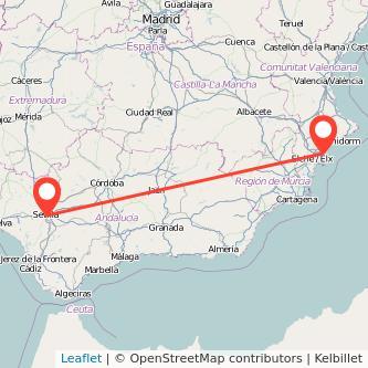 Mapa del viaje Alicante Sevilla en tren