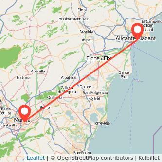 Mapa del viaje Alicante Murcia en tren