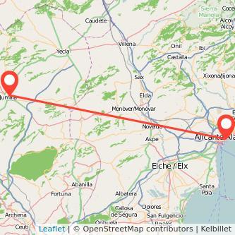 Mapa del viaje Alicante Jumilla en bus