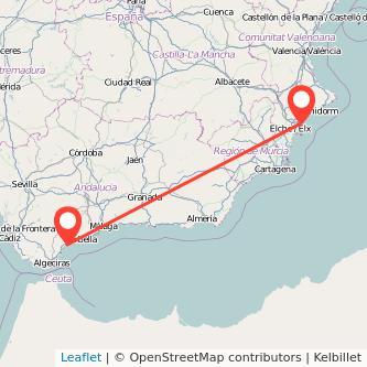 Mapa del viaje Alicante Estepona en bus