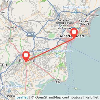 Mapa del viaje Alicante Elche en bus