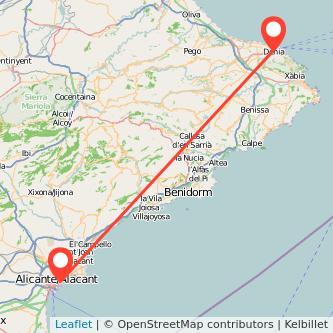 Mapa del viaje Alicante Denia en bus