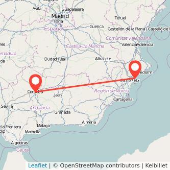 Mapa del viaje Alicante Córdoba en bus