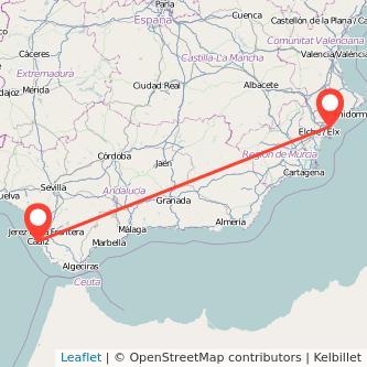 Mapa del viaje Alicante Cádiz en bus