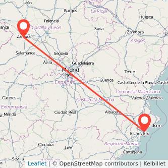 Mapa del viaje Alicante Zamora en tren
