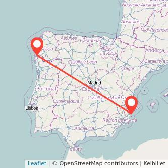Mapa del viaje Alicante Vigo en tren