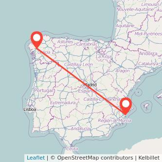 Mapa del viaje Alicante Santiago de Compostela en tren