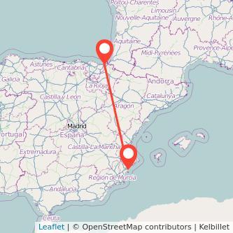 Mapa del viaje Alicante San Sebastián en bus
