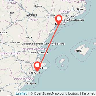 Mapa del viaje Alicante Salou - Port Aventura en tren