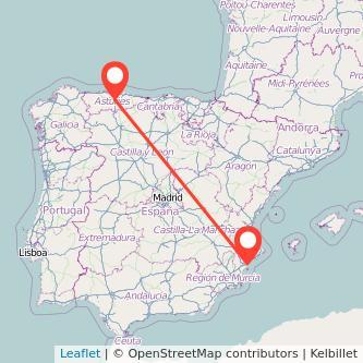 Mapa del viaje Alicante Oviedo en tren