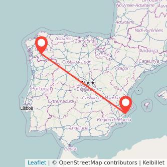 Mapa del viaje Alicante Ourense en tren