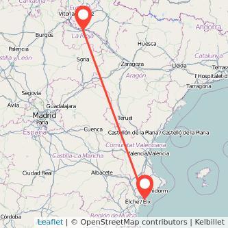 Mapa del viaje Alicante Logroño en bus