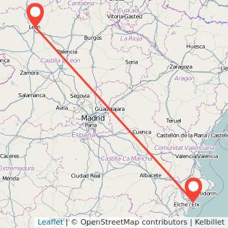Mapa del viaje Alicante León en tren