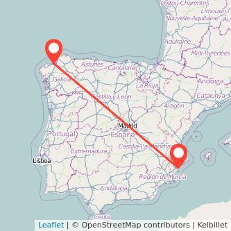 Mapa del viaje Alicante A Coruña en tren