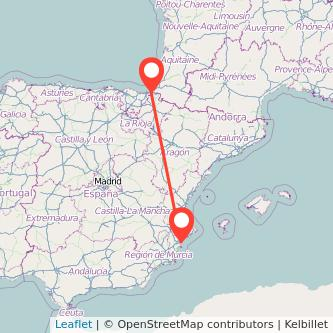 Mapa del viaje Alicante Irún en bus