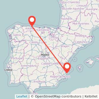 Mapa del viaje Alicante Gijón en tren