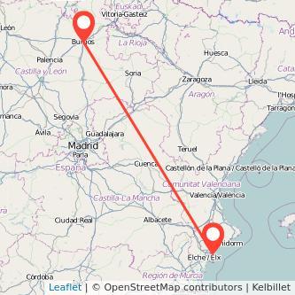 Mapa del viaje Alicante Burgos en bus