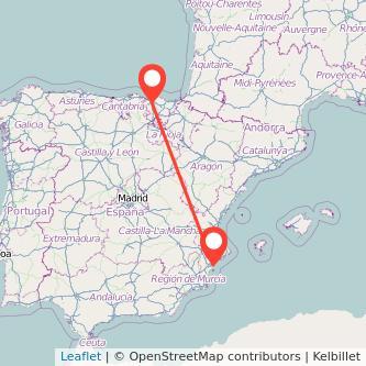 Mapa del viaje Alicante Bilbao en bus