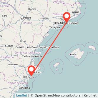 Mapa del viaje Alicante Barcelona en tren