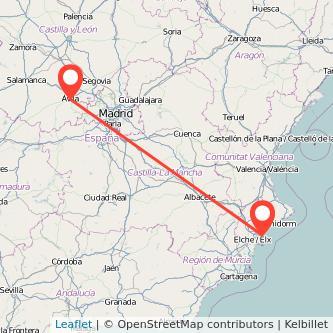 Mapa del viaje Alicante Ávila en tren
