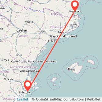 Mapa del viaje Alicante Perpignan en bus