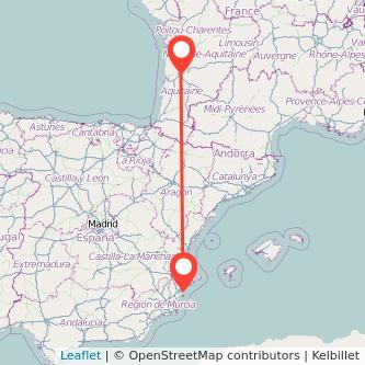 Mapa del viaje Alicante Burdeos en bus