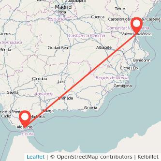 Mapa del viaje Algeciras Valencia en bus