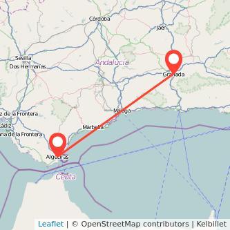 Mapa del viaje Algeciras Granada en bus