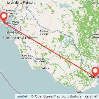 Mapa del viaje Algeciras Cádiz en bus