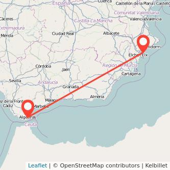Mapa del viaje Algeciras Alicante en bus