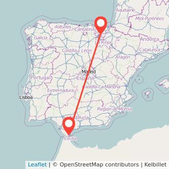 Mapa del viaje Algeciras Vitoria-Gasteiz en bus