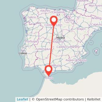 Mapa del viaje Algeciras Valladolid en bus