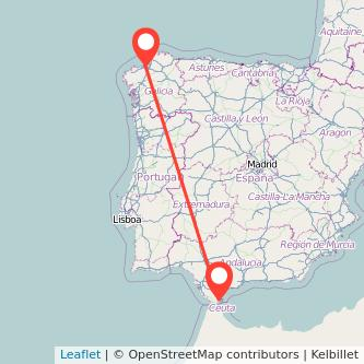 Mapa del viaje Algeciras A Coruña en bus