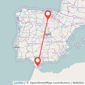 Mapa del viaje Algeciras Burgos en bus