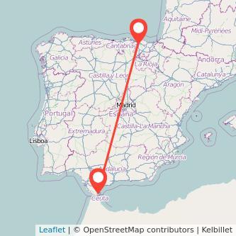 Mapa del viaje Algeciras Bilbao en bus