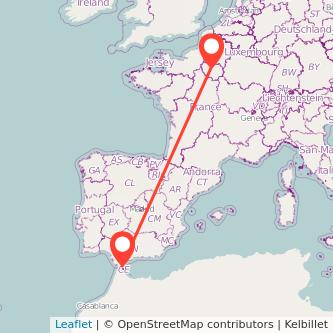 Mapa del viaje Algeciras París en bus