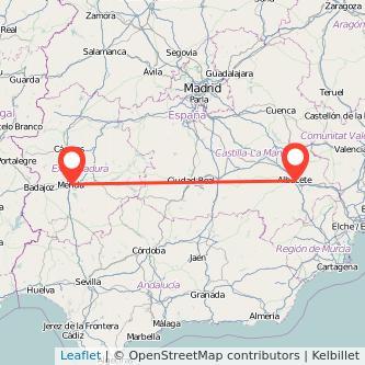 Mapa del viaje Albacete Mérida en bus