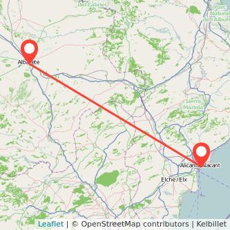 Mapa del viaje Albacete Alicante en bus