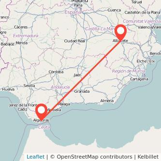 Mapa del viaje Albacete Algeciras en bus