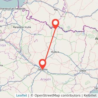 Mapa del viaje Zaragoza Formigal en bus