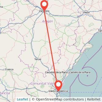 Mapa del viaje Zaragoza Valencia en bus